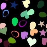 Belle mosaïque de texture des coeurs sur le noir illustration stock