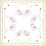Belle nappe avec les bouquets mignons des roses, de la sauge, des fleurs de cloche et de l'oeillet turc sur le fond blanc Concept illustration libre de droits
