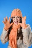belle orange de fille de capuchon de brunette Photographie stock