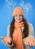 belle orange de fille de capuchon de brunette Image stock