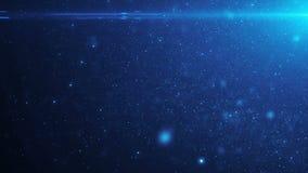 Belle particelle di polvere organiche di galleggiamento di colore blu su fondo nero al rallentatore Animazione avvolta 3D dinamic illustrazione vettoriale