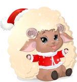 Belle pecore su un fondo bianco Fotografie Stock Libere da Diritti