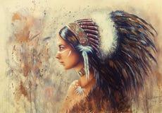 Belle peinture d'aerographe d'une jeune femme indienne portant un Bi Images libres de droits