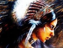 Belle peinture d'aerographe d'une jeune femme indienne portant un Bi illustration de vecteur