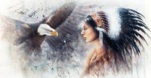Belle peinture d'aerographe d'une jeune femme indienne portant un g Photographie stock libre de droits