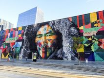 Belle peinture murale colorée dans le port maritime de Rio de Janerio, Brésil Images libres de droits