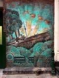 Belle peinture murale de bateau de NYC image libre de droits