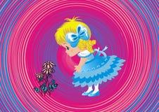Belle petite fille avec des fleurs Illustration Libre de Droits
