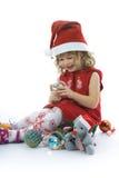 Belle petite fille avec la décoration de Noël Photo libre de droits