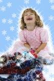 Belle petite fille avec la décoration de Noël Photos libres de droits