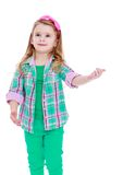 Belle petite fille caucasienne faisant des gestes la main Photos stock