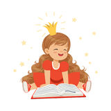 Belle petite fille dans une couronne et une robe rouge lisant un livre, imagination d'enfants et imagination, vecteur coloré de c illustration de vecteur