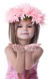 Belle petite fille en guirlande des fleurs roses image stock