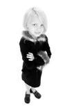 Belle petite fille en noir et blanc Image stock