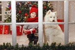 Belle petite fille près d'un grand chien blanc dans la rue d de Noël Photographie stock