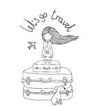 Belle petite fille sur la valise Image stock