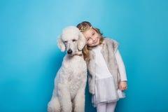 Belle petite princesse avec le chien Amitié pets Portrait de studio au-dessus de fond bleu Photographie stock