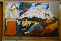 Belle pitture al palazzo di Chehel Sotoun, Ispahan, Iran Fotografie Stock Libere da Diritti