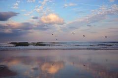 Belle plage au lever de soleil Photographie stock