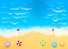 Belle plage avec des vagues, courant de déchirure Image libre de droits