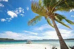 Belle plage avec le fond de l'arbre de bateau et de noix de coco Photos stock