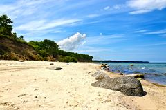 Belle plage baltique arénacée d'or Image stock