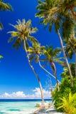 Belle plage bleue de lagune, Maldives Photos stock