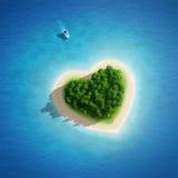 Belle plage d'île de coeur aux vacances d'été Photographie stock