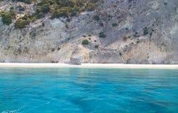 Belle plage d'Egremnoi en île de Leucade, Grèce photos stock