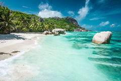Belle plage des Seychelles Photographie stock