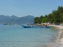 Belle plage sablonneuse tropicale en Gili Trawangan Photos libres de droits