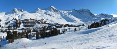 Belle Plagne ski resort landscape Royalty Free Stock Photography