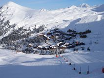 Belle Plagne View. Belle Plagne village, 2000m, in Alpine ski-resort La Plagne, Paradiski region, France Royalty Free Stock Images