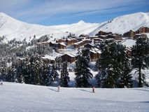 Belle Plagne View. Belle Plagne village, 2000m, in Alpine ski-resort La Plagne, Paradiski region, France Stock Photo