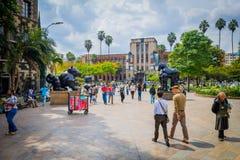 Belle plaza de Botero dans la ville de Medellin, Colombie Images libres de droits