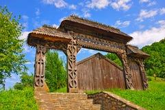 Porte en bois de temps Image libre de droits