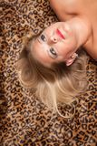 Belle pose bionde della donna sulla coperta del leopardo. Immagini Stock