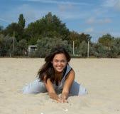 Belle pratique en matière de femme dans le youga Photo stock