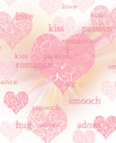 Belle priorità bassa/scheda di giorno dei biglietti di S. Valentino con scrittura Fotografie Stock Libere da Diritti