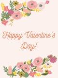 Belle rétro carte florale pour le jour de valentines Photo libre de droits