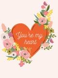 Belle rétro carte florale pour le jour de valentines Photo stock
