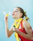 Belle ragazza e bolla Fotografia Stock
