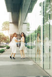 Belle ragazze asiatiche con i sacchetti della spesa che camminano sulla via Immagine Stock