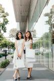 Belle ragazze asiatiche con i sacchetti della spesa che camminano sulla via al Th Immagine Stock