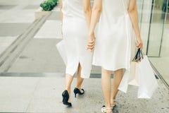 Belle ragazze asiatiche con i sacchetti della spesa che camminano sulla via al Th Immagini Stock