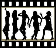 Belle ragazze attraenti che posano nel telaio del film Fotografia Stock Libera da Diritti