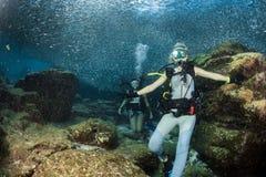 Belle ragazze che vi esaminano mentre nuotando underwater fotografie stock libere da diritti