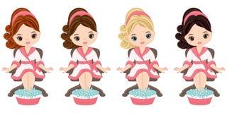 Belle ragazze di vettore che fanno pedicure nel salone della stazione termale illustrazione vettoriale