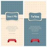 Belle retro cartoline d'auguri di amore Immagine Stock
