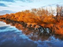 Belle riflessioni di autunno nel fiume Ouse vicino a York, Inghilterra fotografia stock
